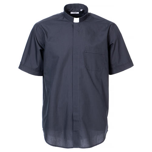 Clergy shirt, short sleeves in mixed cotton, dark grey 1