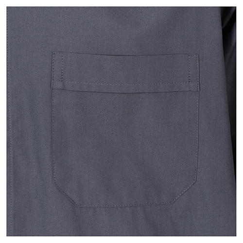 Clergy shirt, short sleeves in mixed cotton, dark grey 3