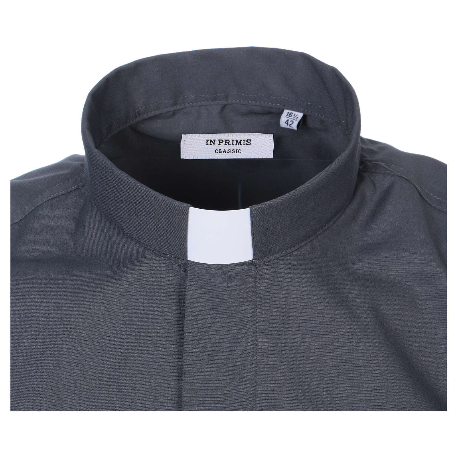 Camicia Collo Clergy manica corta misto grigio scuro 4