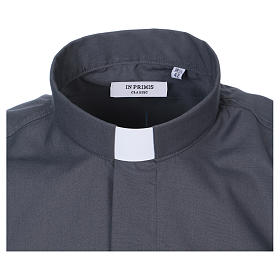 Camicia Collo Clergy manica corta misto grigio scuro In Primis s2