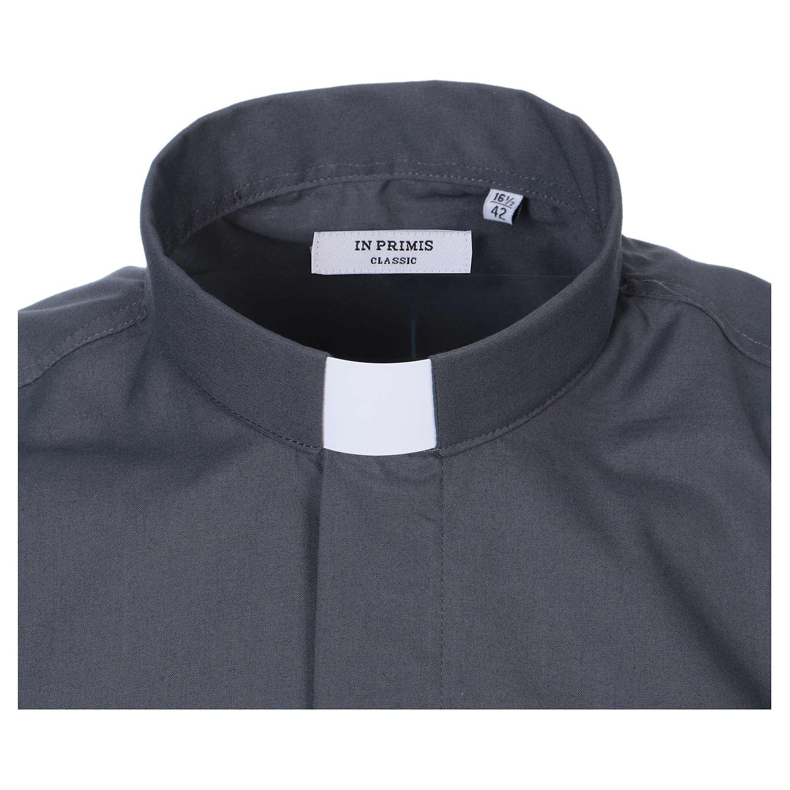 Koszula pod koloratkę rękaw krótki ciemny szary mieszana 4
