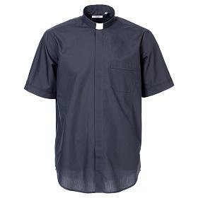 Koszula pod koloratkę rękaw krótki ciemny szary mieszana s1
