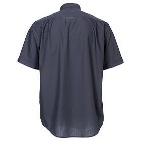 Koszula pod koloratkę rękaw krótki ciemny szary mieszana s5