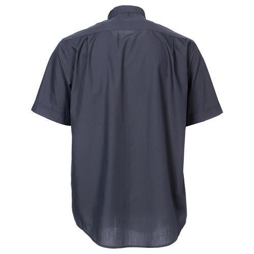 Koszula pod koloratkę rękaw krótki ciemny szary mieszana 5