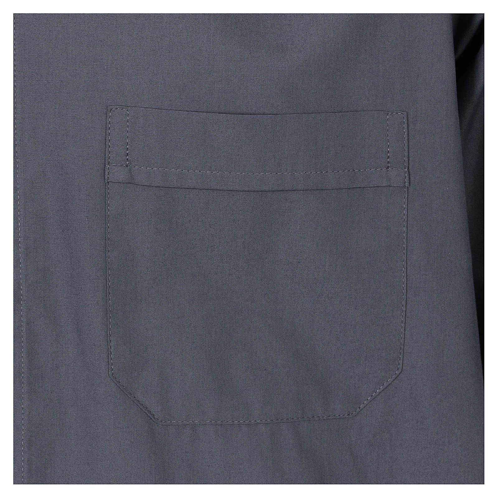 Camisa Colarinho Clergy manga curta misto algodão cinzento escuro 4