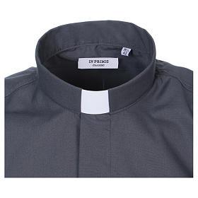 Camisa Colarinho Clergy manga curta misto algodão cinzento escuro s2