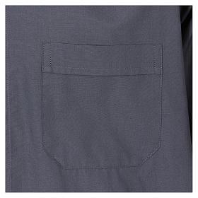 Camisa Colarinho Clergy manga curta misto algodão cinzento escuro s3