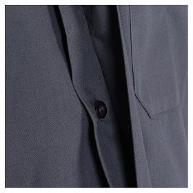 Camisa Colarinho Clergy manga curta misto algodão cinzento escuro s4