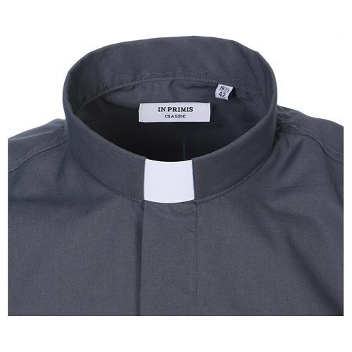 Camisa Colarinho Clergy manga curta misto algodão cinzento escuro 2