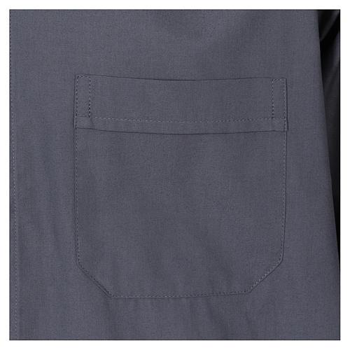 Camisa Colarinho Clergy manga curta misto algodão cinzento escuro 3