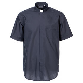 Short Sleeve Clergy Shirt in Dark Gray In Primis s1