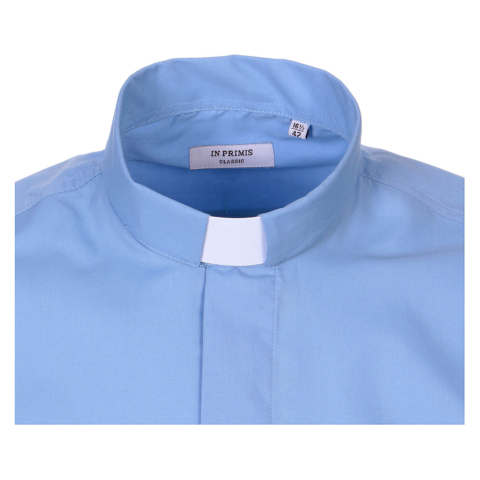 Long-sleeved clergy shirt in sky blue cotton blend In Primis 4