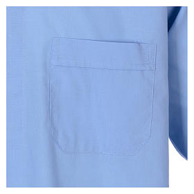 Long-sleeved clergy shirt in sky blue cotton blend s3