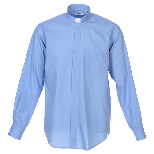 Long-sleeved clergy shirt in sky blue cotton blend 1