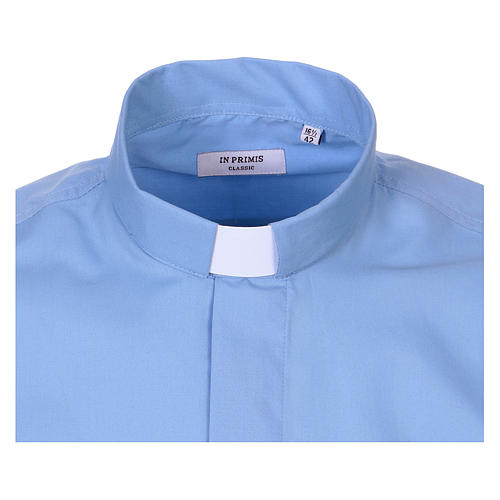 Long-sleeved clergy shirt in sky blue cotton blend 2