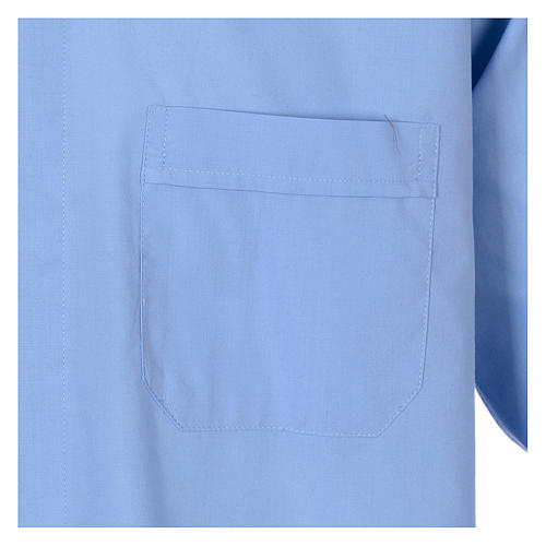 Long-sleeved clergy shirt in sky blue cotton blend 3