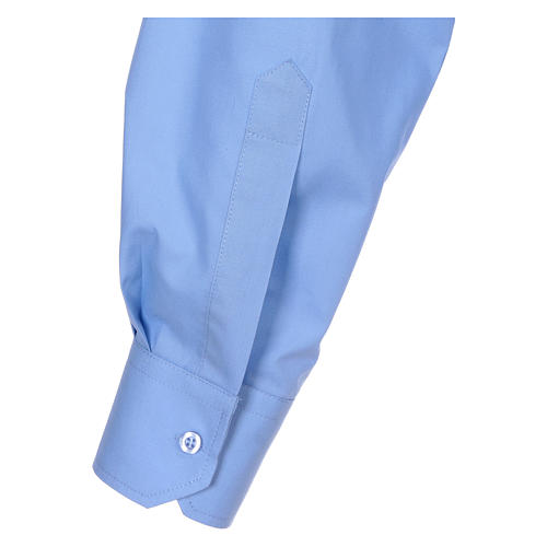 Long-sleeved clergy shirt in sky blue cotton blend In Primis 5