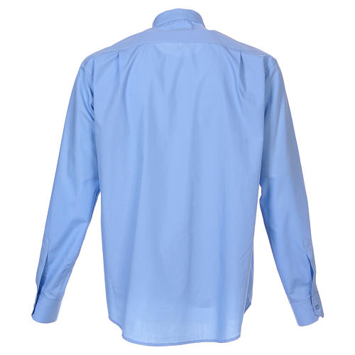 Long-sleeved clergy shirt in sky blue cotton blend 6