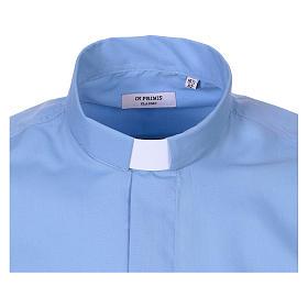 Chemise Clergy longues manches tissu mixte coton bleu clair s2