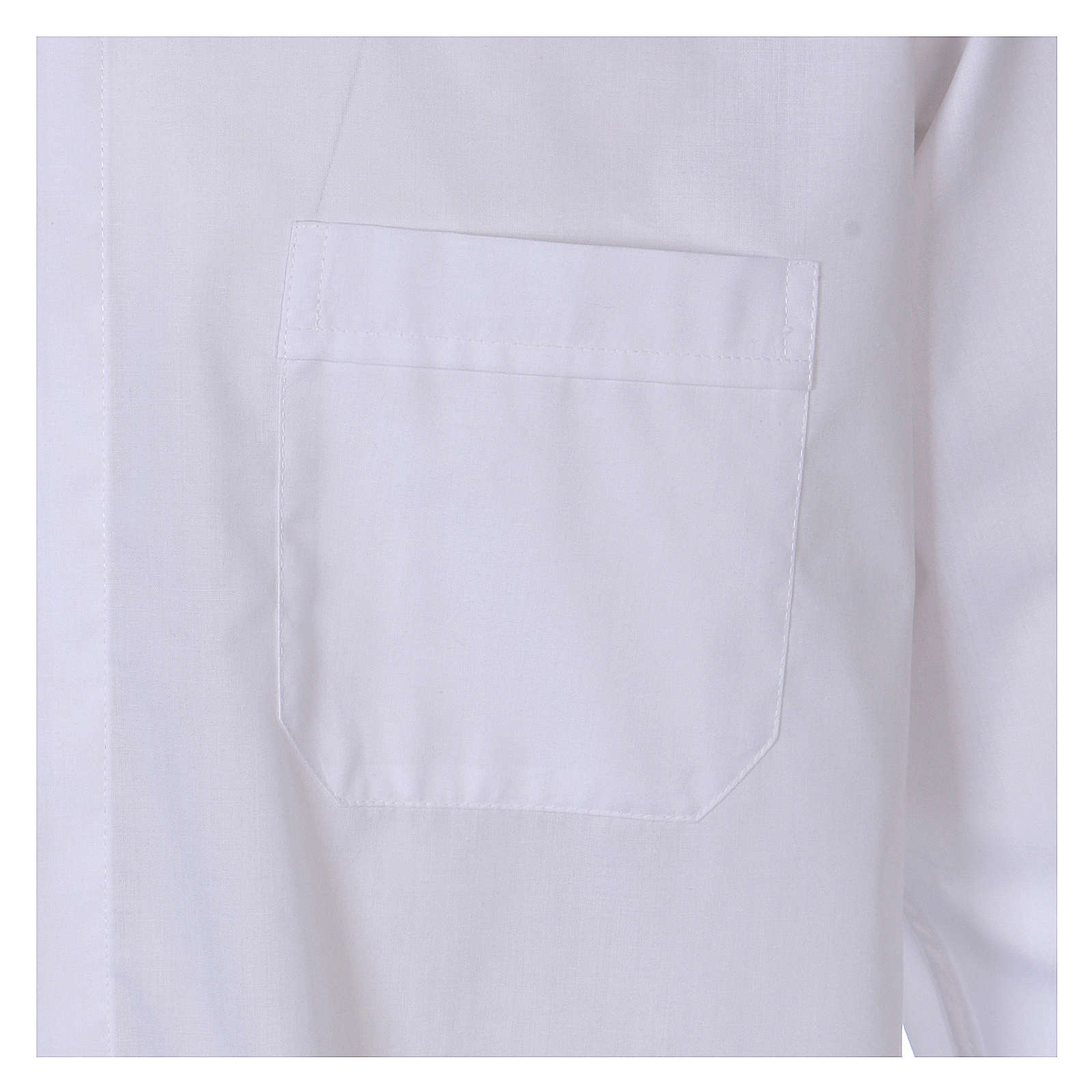 Camisa cuello Clergy manga larga mixto algodón blanca 4