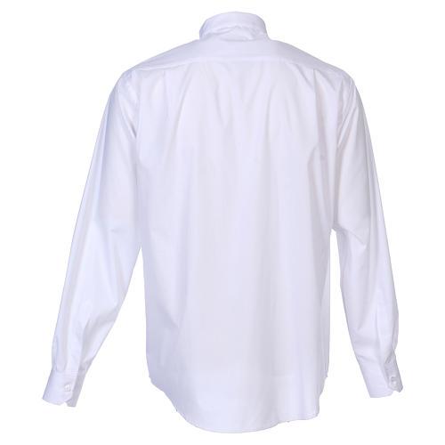 Camisa cuello Clergy manga larga mixto algodón blanca 6