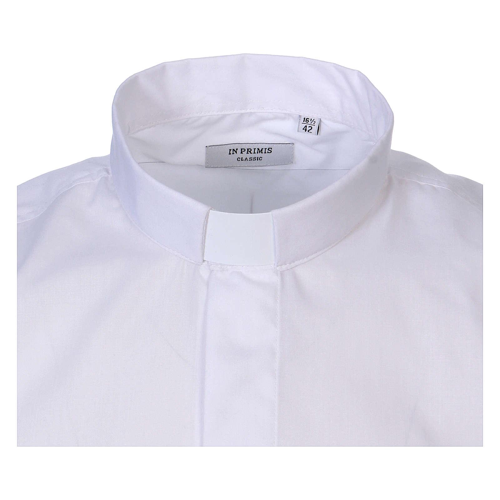 Chemise Clergy longues manches tissu mixte coton blanc In Primis 4