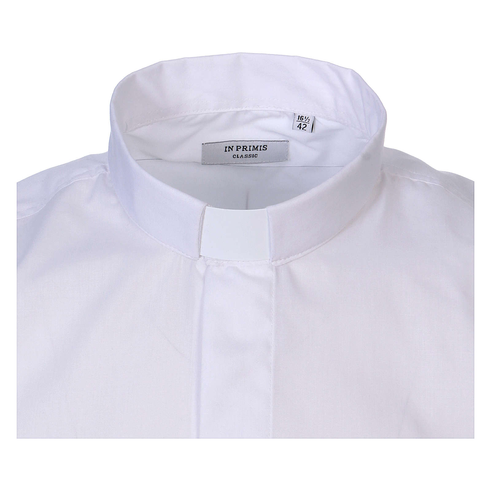 Camicia collo Clergy manica lunga misto cotone bianca In Primis 4