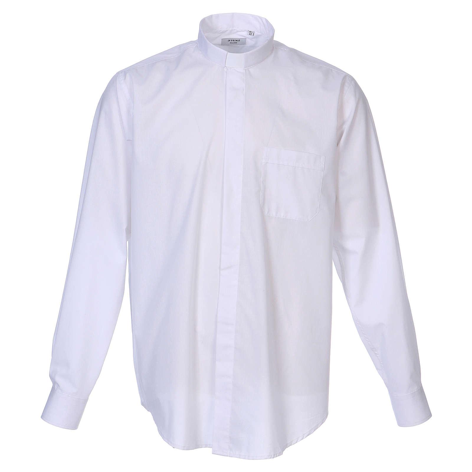 Koszula na koloratkę długi rękaw biała mieszana bawełna In Primis 4