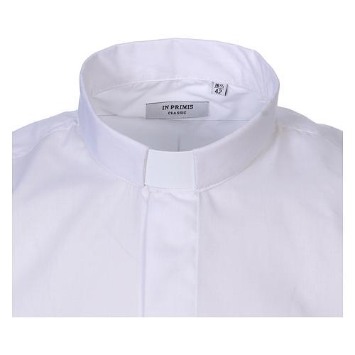 Koszula na koloratkę długi rękaw biała mieszana bawełna In Primis 2