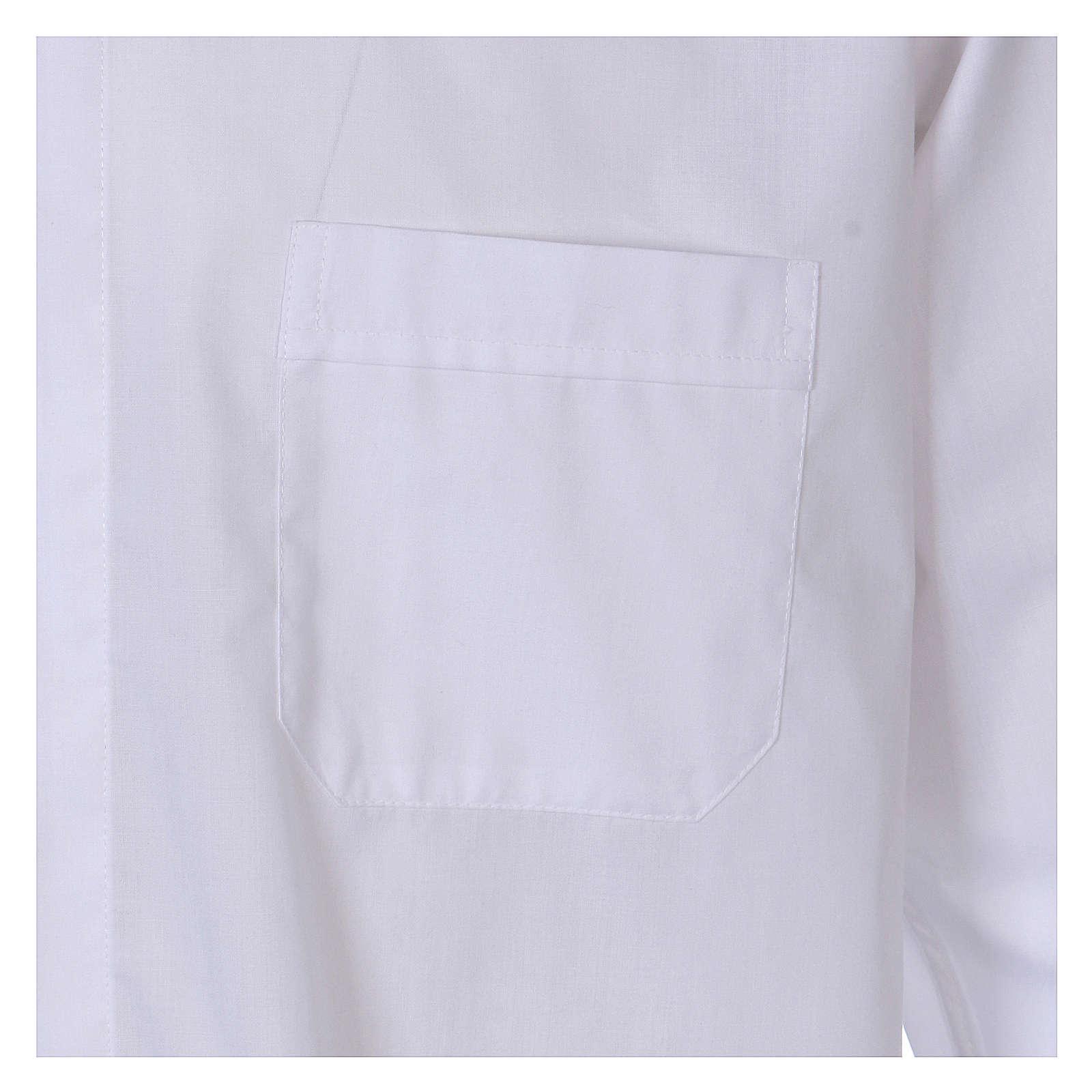 Camisa colarinho Clergy manga longa misto algodão branco In Primis 4