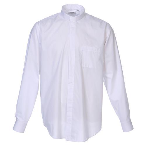 Camisa colarinho Clergy manga longa misto algodão branco In Primis 1