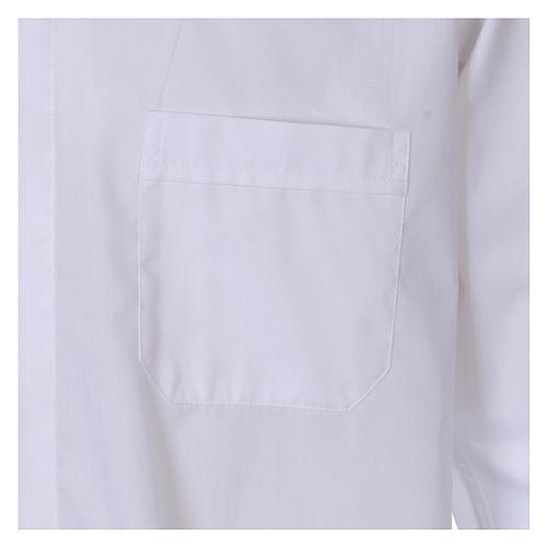 Camisa colarinho Clergy manga longa misto algodão branco In Primis 3
