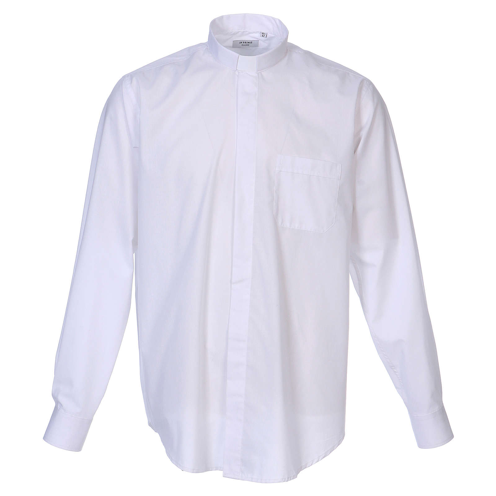 Long Sleeve White Clergy Shirt, mixed cotton In Primis 4
