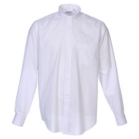 Long Sleeve White Clergy Shirt, mixed cotton In Primis s1