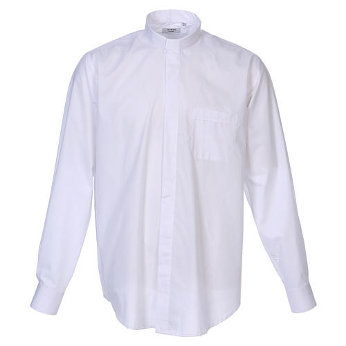 Long Sleeve White Clergy Shirt, mixed cotton In Primis 1