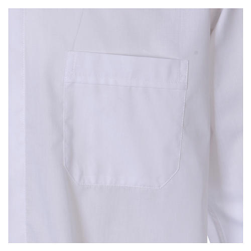 Long Sleeve White Clergy Shirt, mixed cotton In Primis 3