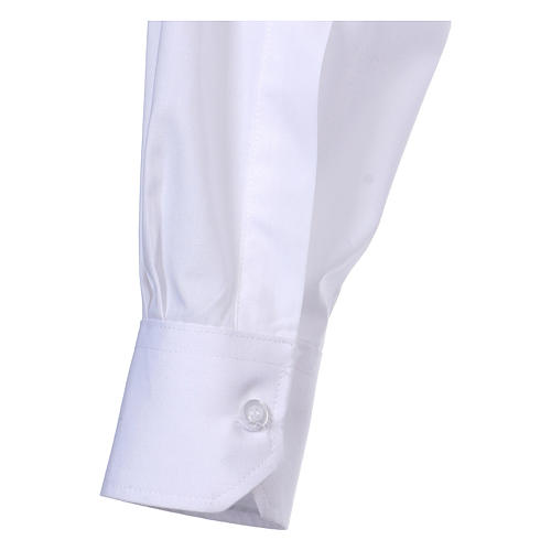 Long Sleeve White Clergy Shirt, mixed cotton In Primis 5
