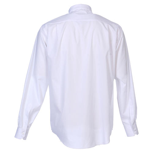 Long Sleeve White Clergy Shirt, mixed cotton In Primis 6