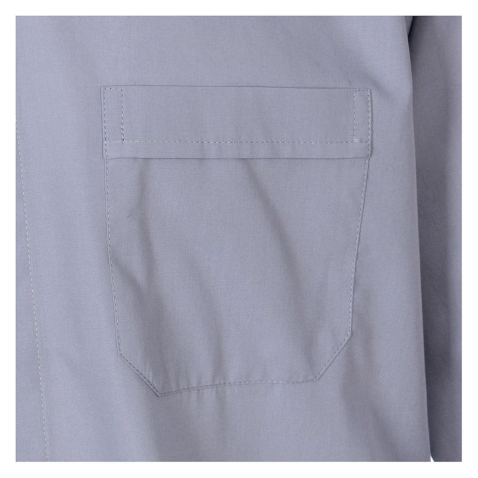 Collarhemd mit Langarm aus Baumwoll-Mischgewebe in der Farbe Hellgrau In Primis 4