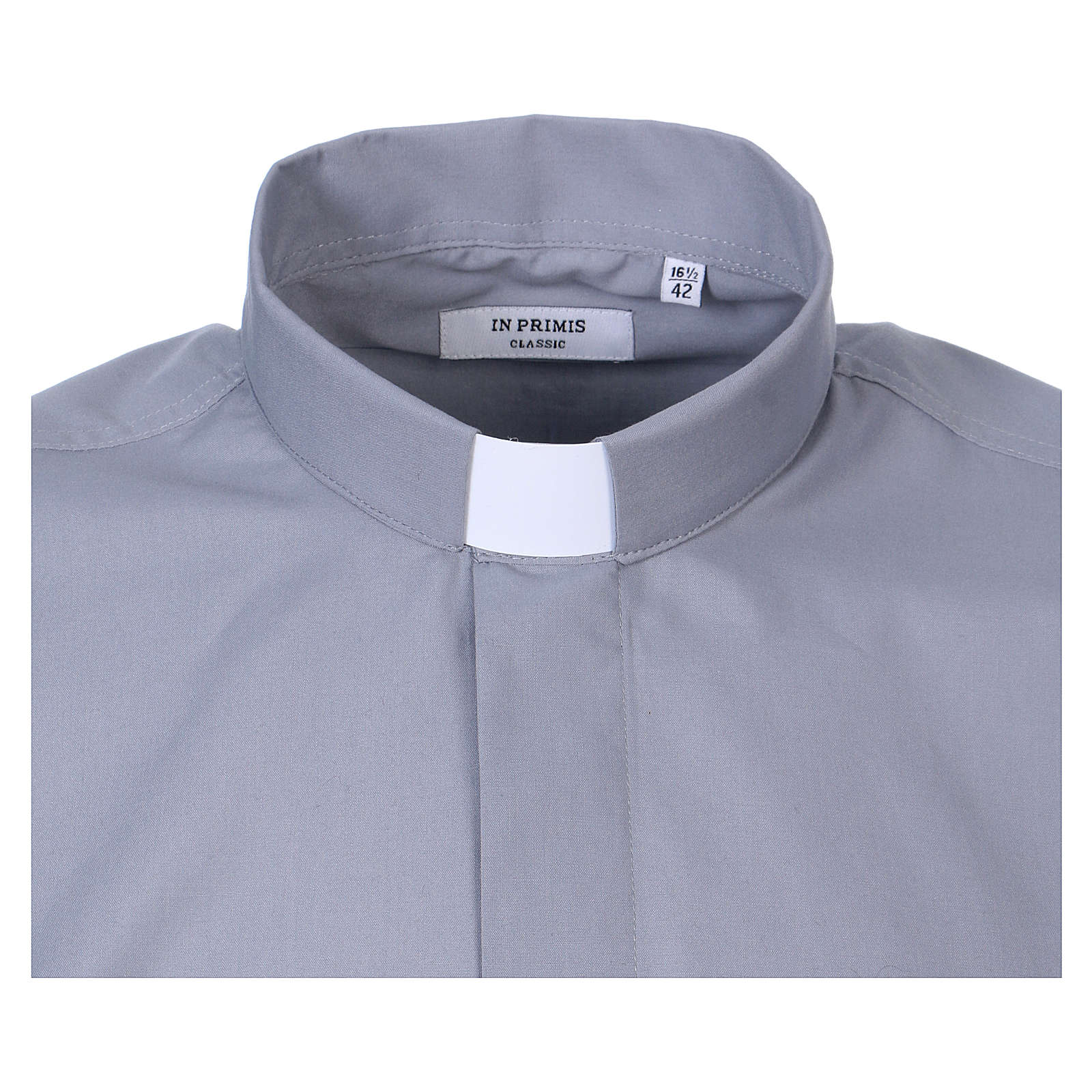 Long-sleeved clergy shirt in light grey cotton blend 4