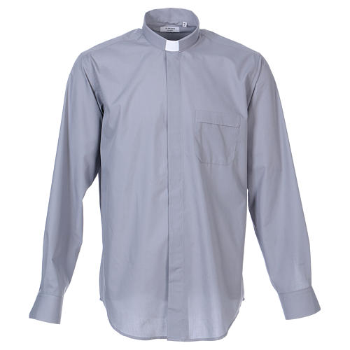 Long-sleeved clergy shirt in light grey cotton blend 1