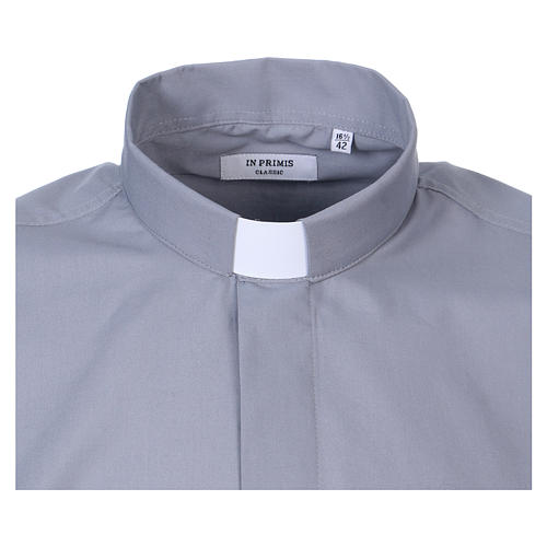 Long-sleeved clergy shirt in light grey cotton blend 2