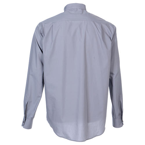 Long-sleeved clergy shirt in light grey cotton blend 6