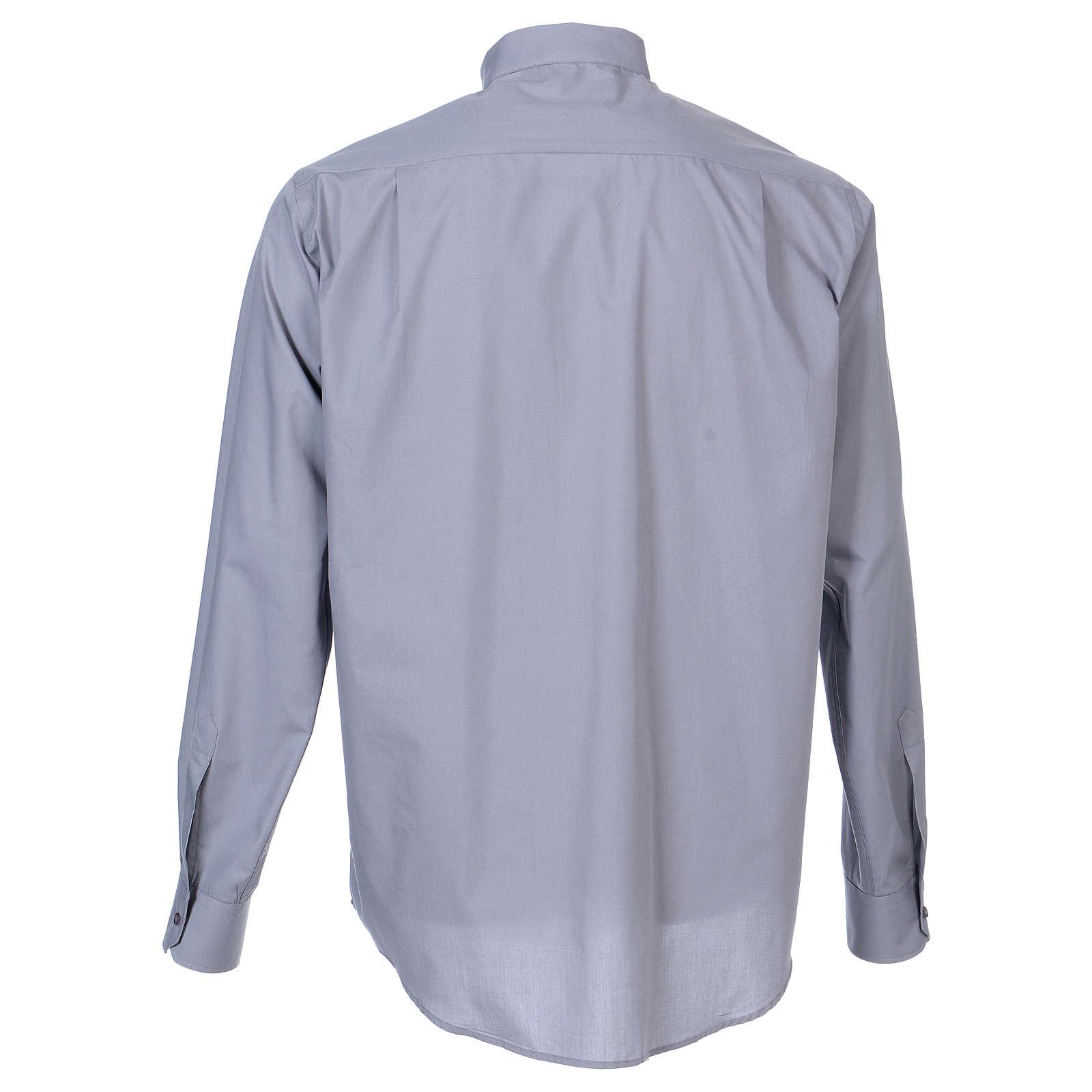 Chemise Clergy longues manches tissu mixte coton gris clair In Primis 4