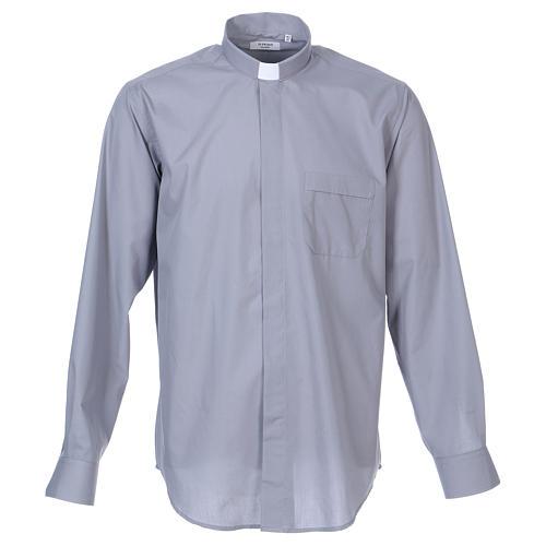 Chemise Clergy longues manches tissu mixte coton gris clair In Primis 1