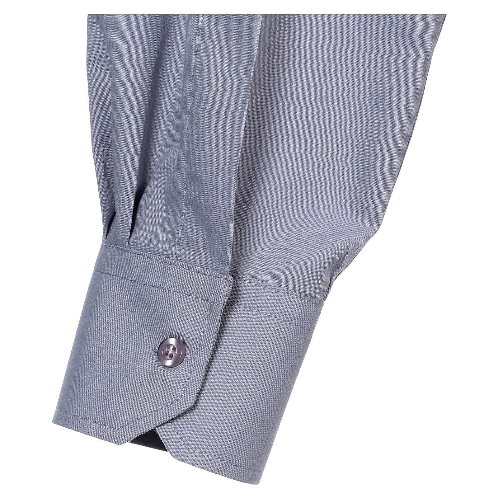 Koszula dla księdza długi rękaw jasny szary mieszana bawełna In Primis 4