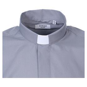 Koszula dla księdza długi rękaw jasny szary mieszana bawełna In Primis s2