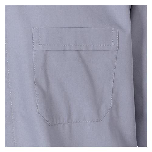 Koszula dla księdza długi rękaw jasny szary mieszana bawełna In Primis 3