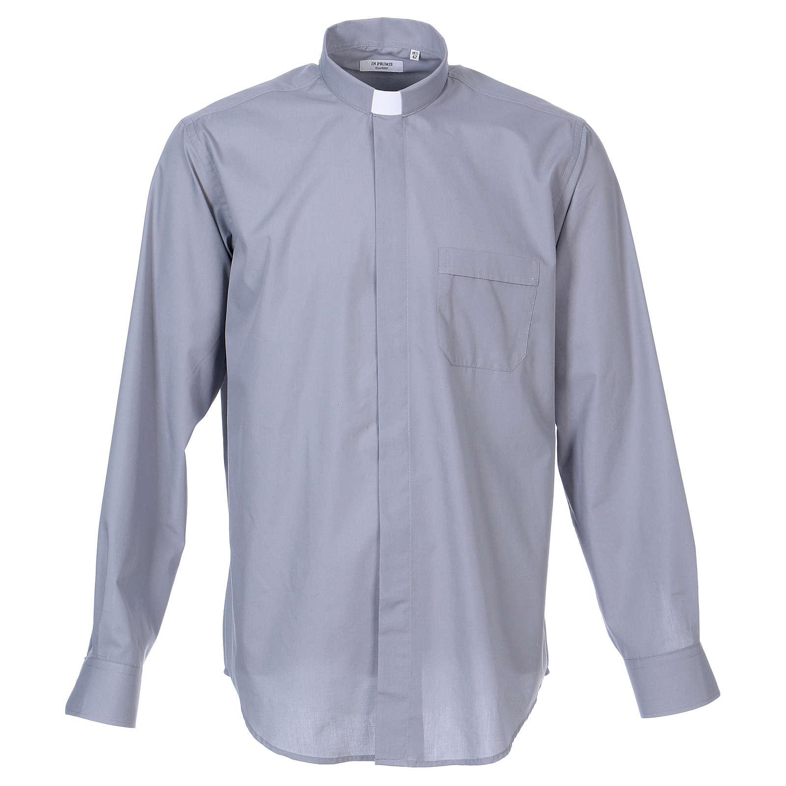 Camisa de sacerdote manga longa misto algodão cinzento claro In Primis 4