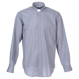 Camisas de Sacerdote: Camisa de sacerdote manga longa misto algodão cinzento claro